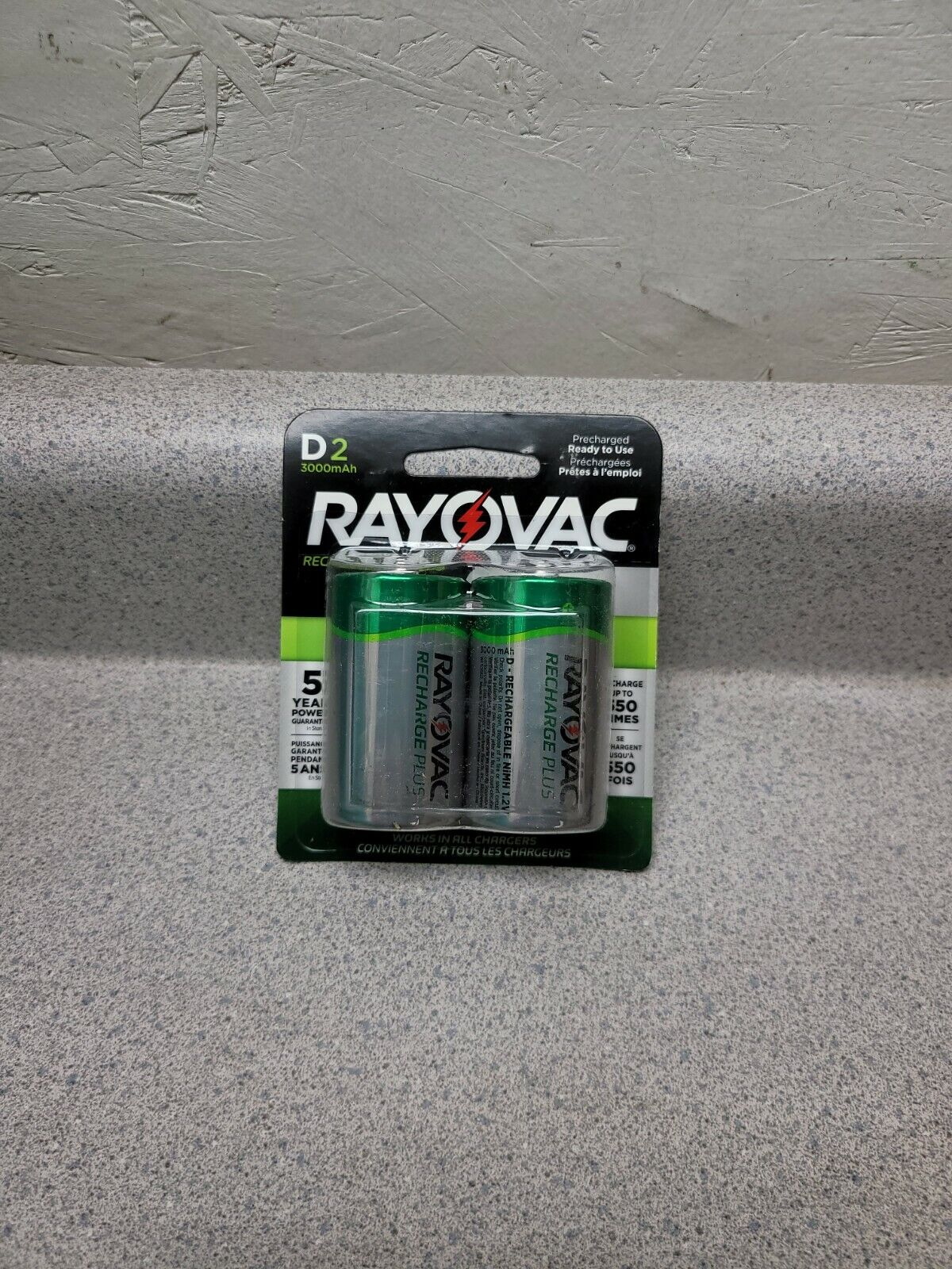 (2-Pack) RAYOVAC Platinum Rechargeable D Battery NEW Batteries 3000MAH 1.2V