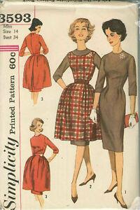 Robe-vintage-piece-pull-tunique-motif-de-couture-et-overskirt-s3593-Taille-14