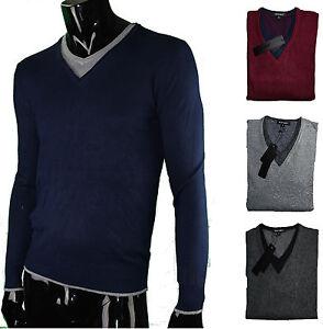 Maglione-uomo-slim-fit-leggero-morbidissimo-con-scollo-a-V-effetto-t-shirt-VELON