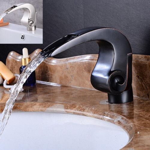 Bathroom Unique Design Waterfall Spout Taps Mixer Deck Mounted Brass Faucet