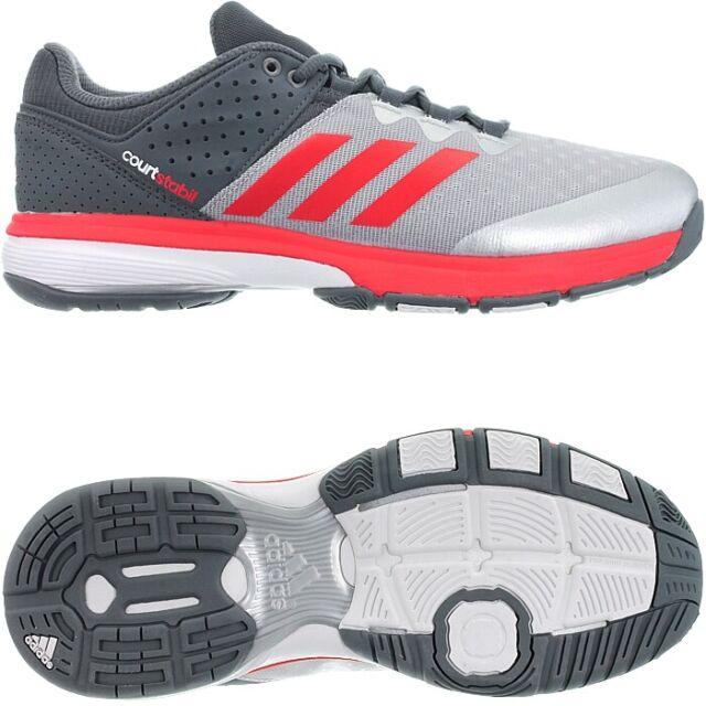 Adidas Court Stabil grau rot Herren Handballschuhe Indoorschuhe Cloudfoam NEU