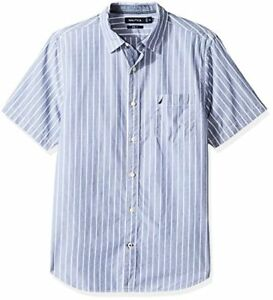 Nautica Mens Slim Fit Striped Button-Down Polo Shirt