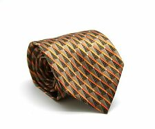 ERMENEGILDO ZEGNA 100% Silk Classic Mens Neck Tie Brown Orange Stripe Italy