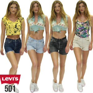 JEANS Shorts HOT PANTS BLUE WASHED mit Strass Gr 34 36 38 40