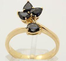 ♦Saphir Finger Ring in 18kt 750 Gelb Gold mit Safir Saphirring Safirring Schmuck