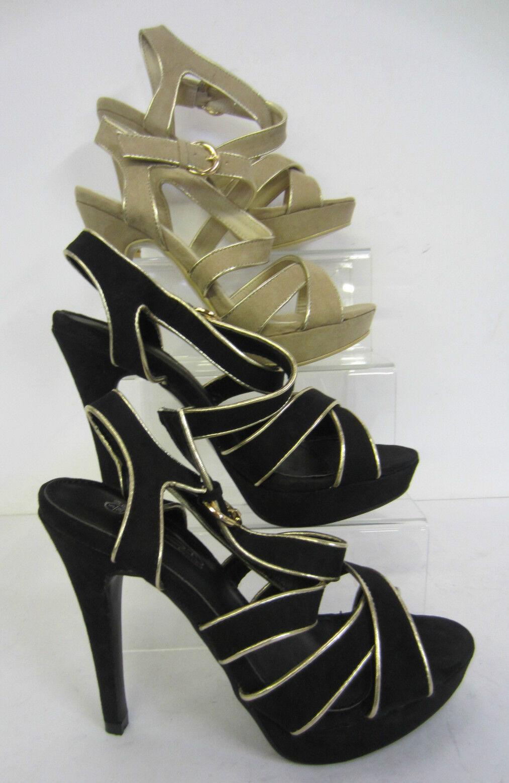 f10149- Spot On ; donna con tacchi sandali punta aperta! COLORI- Nero,color