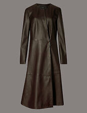 MARKS AND SPENCER AUTOGRAPH LEATHER FULL SKIRTED COAT SIZE 10