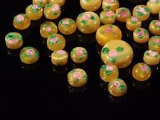 (45) vintage Czech lampwork pink floral green yellow satin disc art glass beads