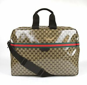 Image Is Loading New Gucci Crystal Gg Canvas Duffle Travel Bag