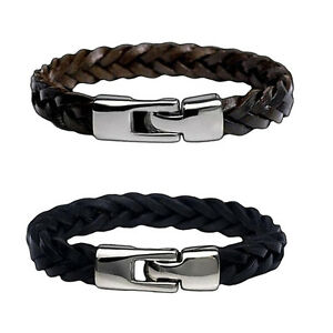 1/2Pcs Fashion Mens Womens Wrap Braided Leather Bracelet Cuff Bangle Wristband