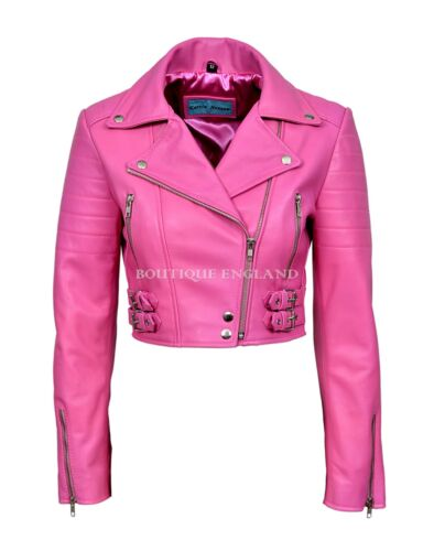 Ladies Short Body Leather Jacket Fuchsia Pink Biker Style 100/% REAL LEATHER 5625