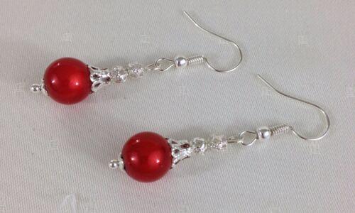 Para Mujer Rojo Grano de Plata Tono Filigrana MILAGROSA tapa señoras perforado cuelgan pendientes