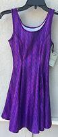 $92 Zara Terez Brand Purple Sweater Design Skater Dress Girl's Size Large 14