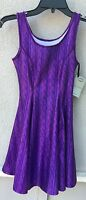 $92 Zara Terez Brand Purple Sweater Design Skater Dress Girl's Size Large 14
