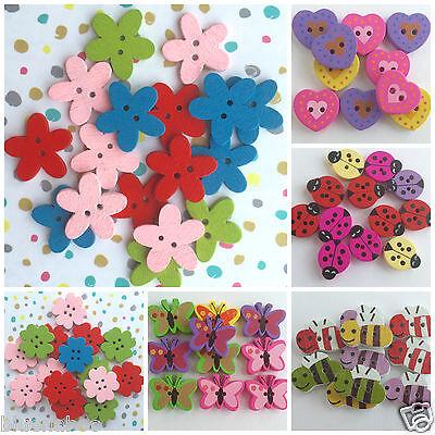 10 novelty wooden buttons, flower ladybird hearts butterflies 2 holes