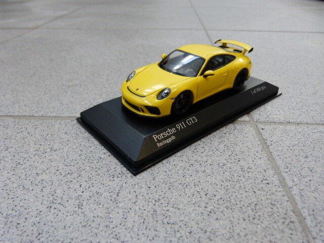 Porsche 911 991 gt3 racinggiallo 2017 limitado Minichamps maqueta de coche 1 43