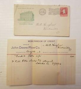 1903. JOHN DEERE PLOW CO. LETTERHEAD & ENVELOPE.