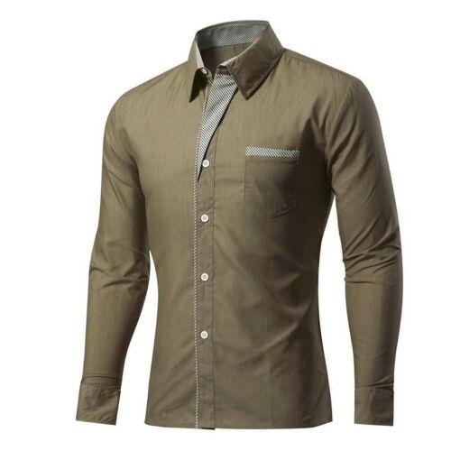 Men Long Sleeve Color Blocked Formal Business Casual Shirt Plus Size Shirt UK
