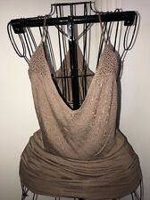 FOREVER 21 XXI Blouse Top Sz S Deep Plunge Brown Racer-back Rhinestone Bling