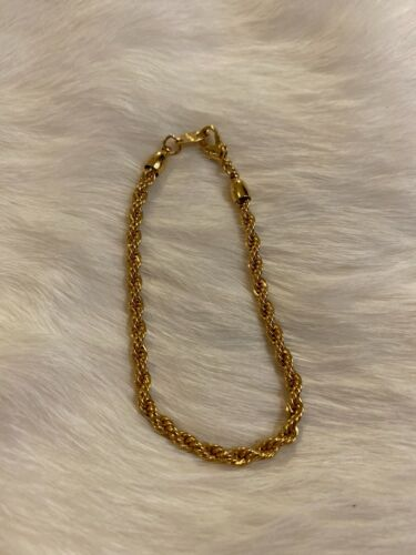 Avon 24k Leaf Pendant Necklace Gold Tone Vintage Electroplated Twisted Rope Link Chain Lobster Claw Clasp