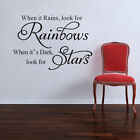 Wall Quote Kid Nursery Decor Vinyl Decal Sticker Look for Rainbows or Stars