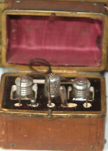 ANTIQUEc1880-039-s-ETUI-10pc-SEWING-TOOLED-LEATHER-CHEST-STERLING-THIMBLE-amp-more