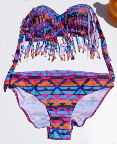 Women Plus Size S~3XL Two Piece suit Paded Bra Tassel High Waist Swimwear Bikini