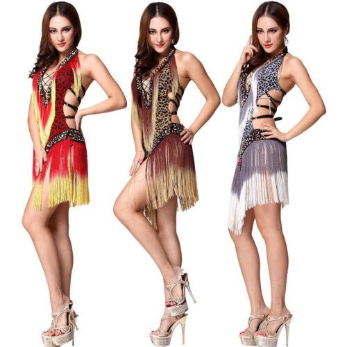 Latin Dancewear Leopard Fringe Latin Competition Dress 3 Colors