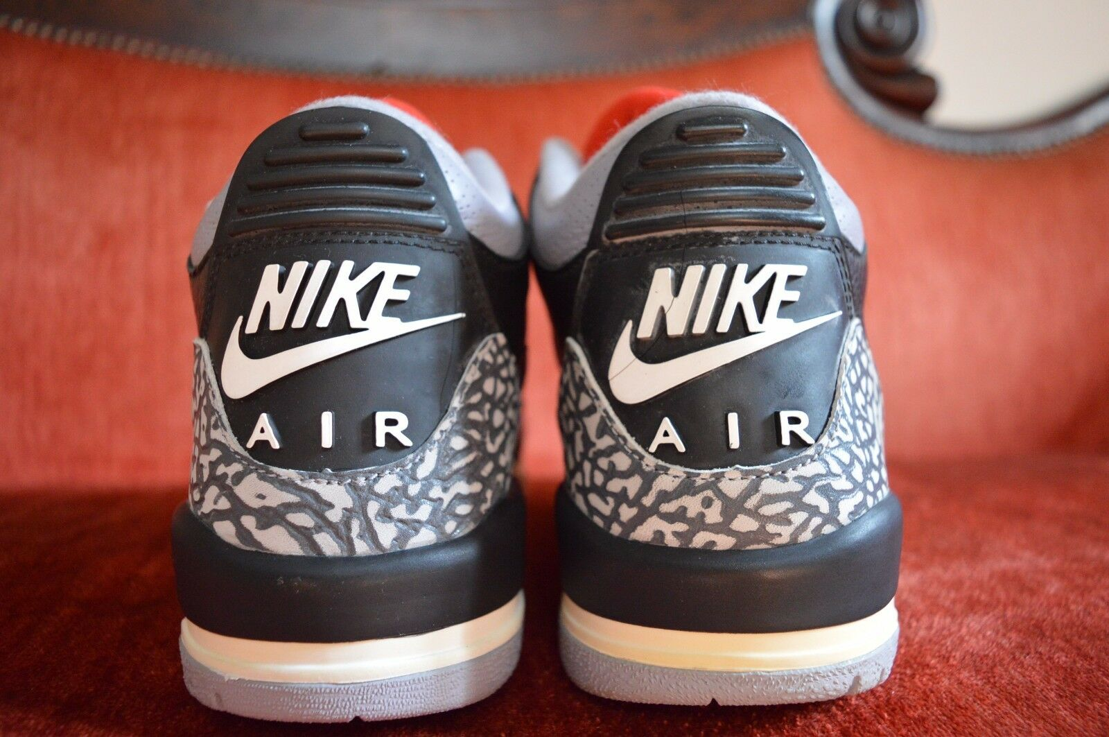 2018 Nike Air Jordan III 3 Retro BLACK CEMENT GREY FIRE RED WHITE 136064-001 9 New shoes for men and women, limited time discount