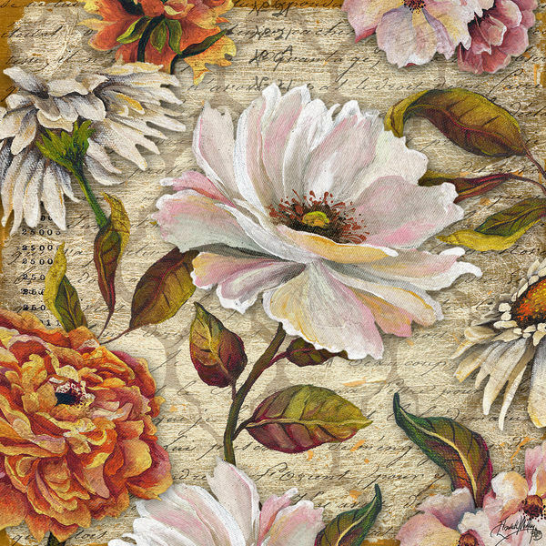 Elizabeth Medley  Bianco Floreale Inscription i Barella-Immagine Schermo Fiore