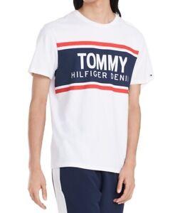 Tommy-Hilfiger-Mens-T-Shirt-White-Size-2XL-Crewneck-Logo-Graphic-Tee-39-465