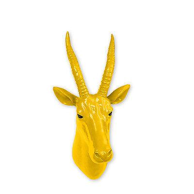 Animal Head Home Decoration Wall Art Sculpture - Yellow Antelope