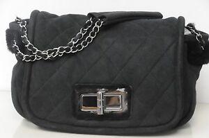 95ee4bbcc3abf0 New CHANEL Classic FLAP Medium BLACK Bag SHEARLING FUR SUEDE Silver ...