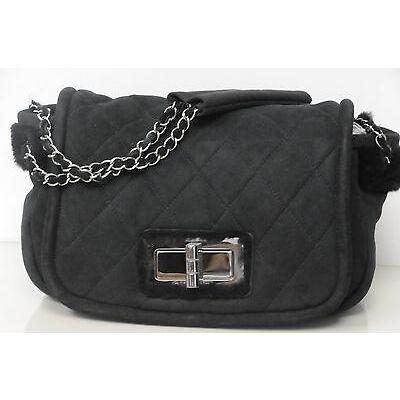 New CHANEL Classic FLAP Medium BLACK Bag  SHEARLING FUR SUEDE Silver Chains
