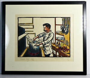 14-034-Signed-Richard-Coze-Print-Kitchen-Decor-French-Chef-Cooking-Art-Gift