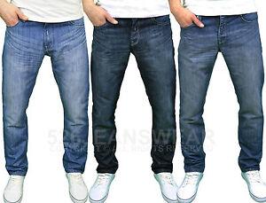 Para Hombres Crosshatch Marca De Diseño Regular Fit Straight Leg Jeans Denim Pantalones Talla