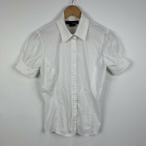 Basque-Womens-Blouse-Size-6-White-Short-Sleeve-Good-Condition