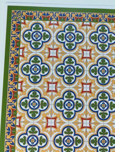 Dollhouse Miniature Tile Floor Sheet Victorian Large Card Stock 1:12 Scale