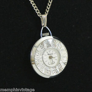 Vintage Watch Fob Pendant Necklace Starburst ATOMIC Mid Century SWISS