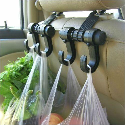 Car Seat Back Headrest Dual Hook Holder Plastic Hanger Fit For Bag Purse Cloth
