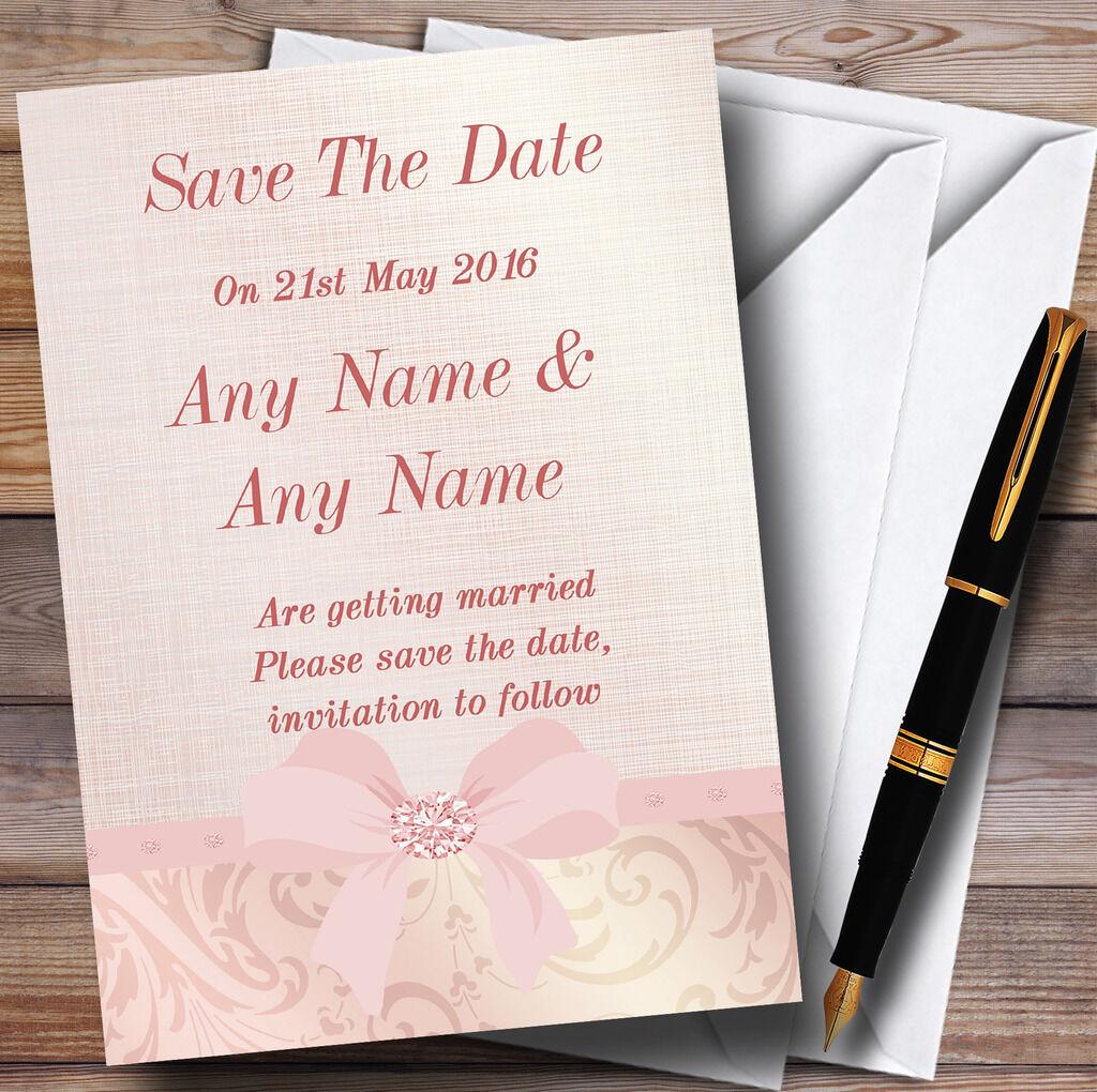 Pretty ROSE CORAIL CORAIL ROSE pâle damassé Bow mariage save the date cards 9f9515