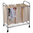 Heavy-Duty 3-Bag Laundry Sorter Rolling Cart Hamper Organizer Beige 4 Wheels
