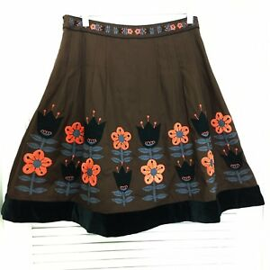 2 Velvet Lithe Floral Backyard Brown da giardino Gonna Anthropologie qwU8YYR