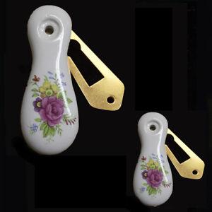 1 Paire Porcelaine Blanche Clé Trou Couvre Chantilly Design-afficher Le Titre D'origine Riche Et Magnifique