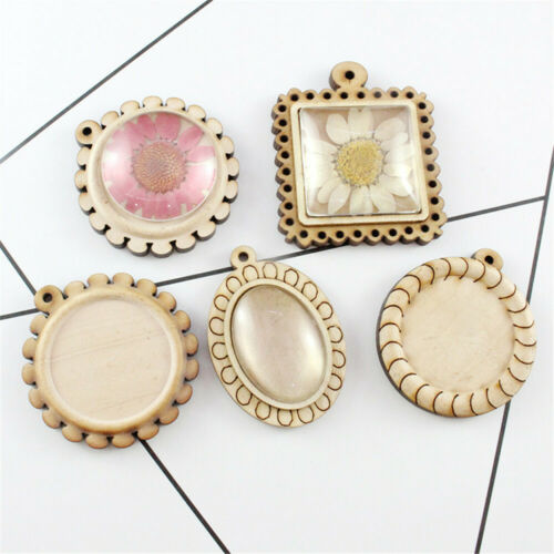 DIY Pendant Wood Cabochon Base Blank Tray Fit 30mm Cameo Stone Beads Jewelry