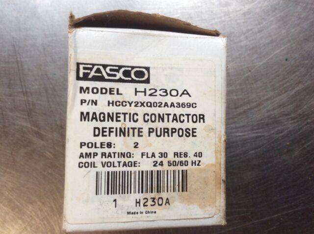 Fasco H230a 2 Pole 30a Definite Purpose Contactor  24v
