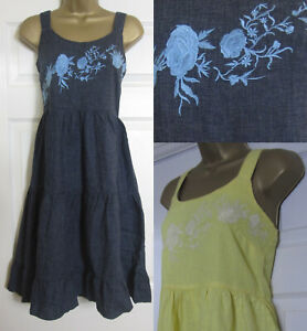 NEW-Next-Linen-Blend-Embroidered-Strappy-Dress-Summer-Sun-Yellow-Blue-Size-6-26