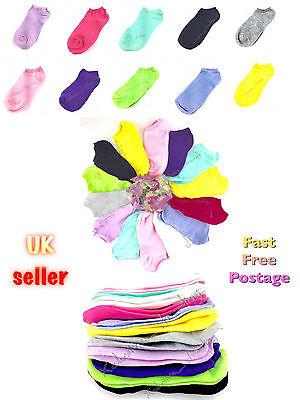 AnpassungsfäHig Trainer Socks Mix Colours Womens Teenagers Ladies Ankle Liner Sock Footsie