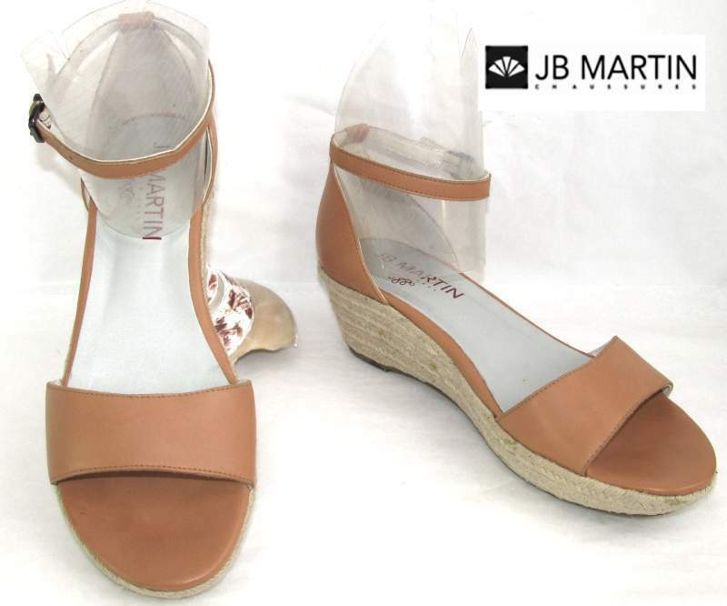JB MARTIN - WEDGE SANDALS ALL BROWN LEATHER CAMEL CONDITION 41 - VERY GOOD CONDITION CAMEL fb0384