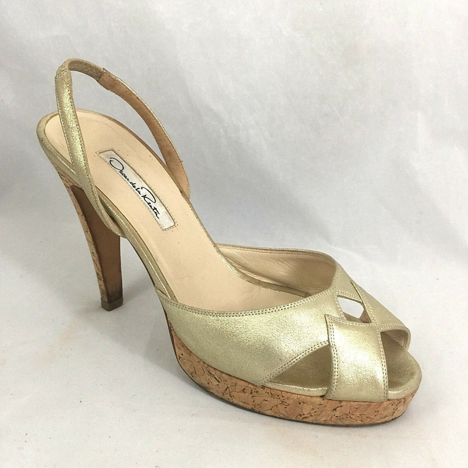 Oscar de la Renta or Metallic Leather Cork Platform Slingback Sandals 37 7